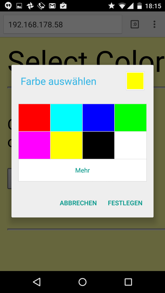 Das ColorPicker Element im Android 5.0 Browser