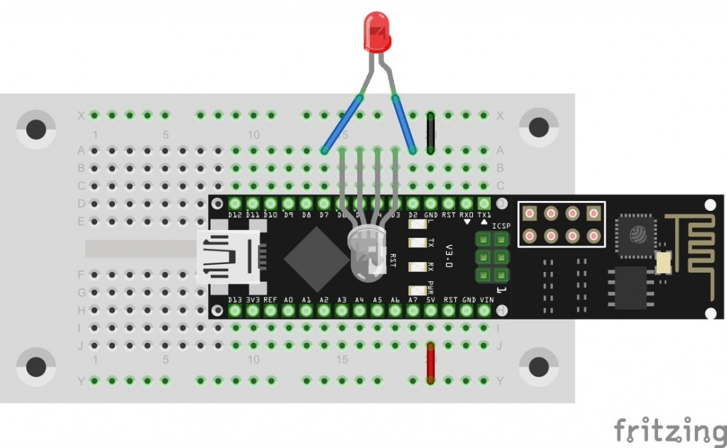 Anschluss der LEDs an D2-D7