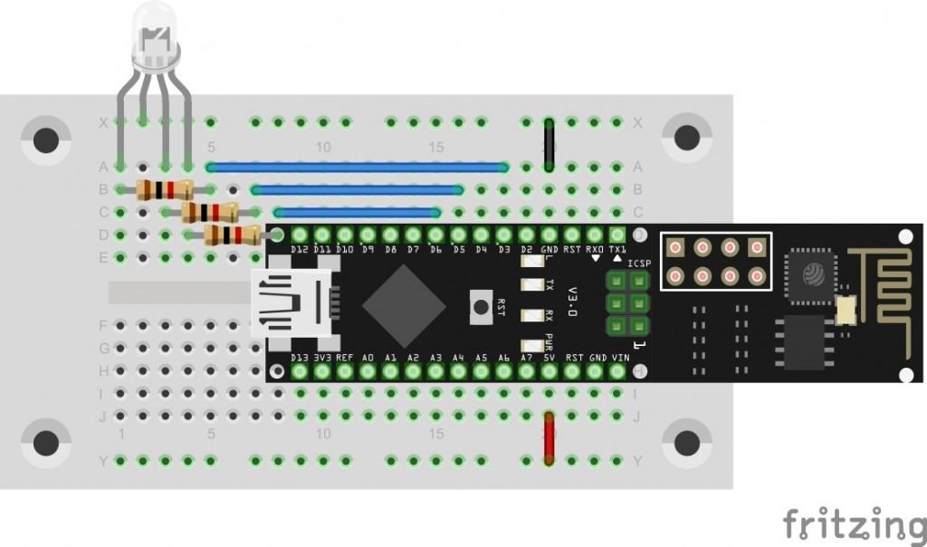 Die RGB-Led auf dem Steckboard an den Pins D3, D5 und D6