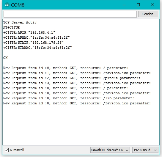 Die IP-Adressen und Browser-Requests im Seriellen Monitor