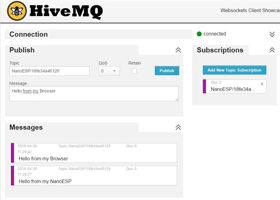 Der Wensocket Client von HiveMQ