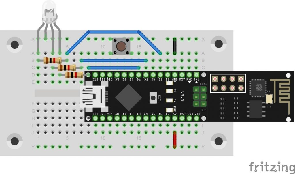 Aufbau der RGB-LED mit Button