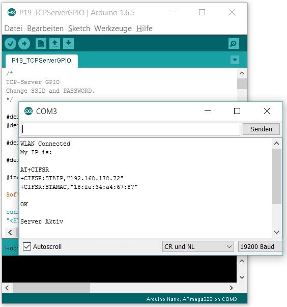 Die Einstellungen der IDE (unten rechts) und des Seriellen Monitors