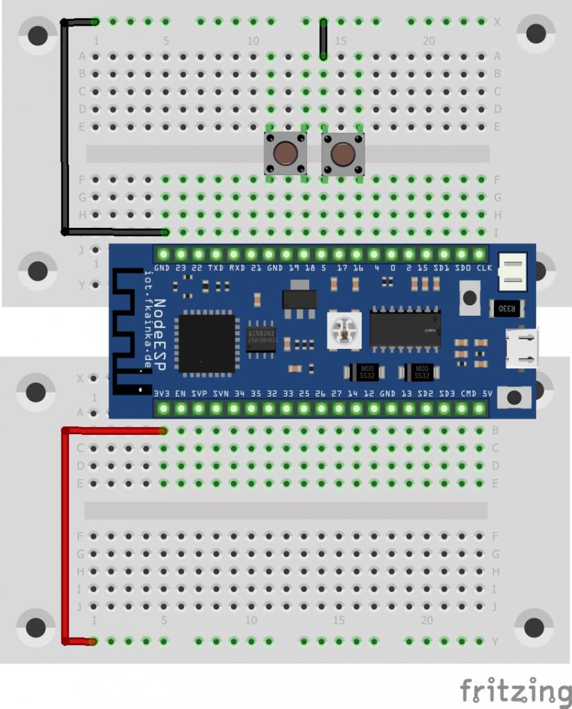 Der Aufbau mit zwei Buttons