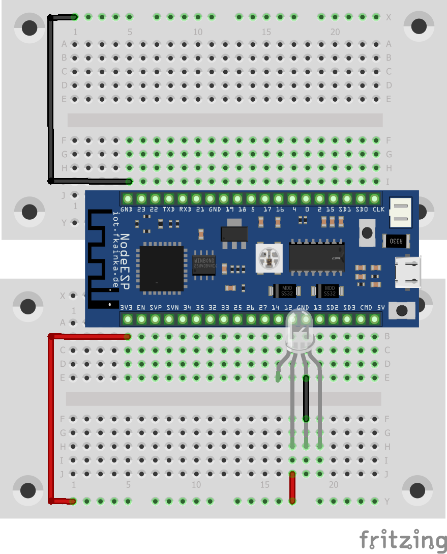 So wird die PL9823 richtig angeschlossen (lange Beinchen rechts).