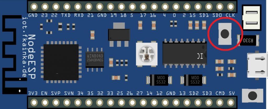 Das NodeESP-Board mit markierter WPS-Taste.